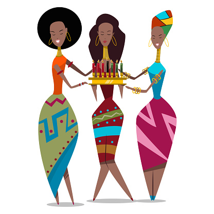 Happy Kwanzaa holiday illustration. Vector cartoon flat character of three african american women with candles isolated on a white background.