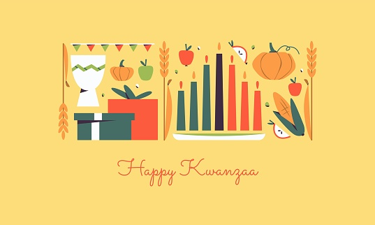 Happy Kwanzaa horizontal vector banner template with the symbols of African Heritage - kinara candles, crops, corn, unity cup and holiday gifts. Annual celebration of African-American culture.