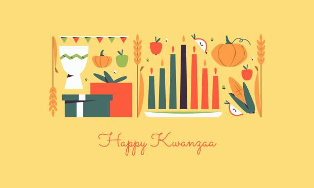 Happy Kwanzaa horizontal vector banner template with the symbols of African Heritage - kinara candles, crops, corn, unity cup and holiday gifts. Annual celebration of African-American culture. Happy Kwanzaa horizontal vector banner template with the symbols of African Heritage - kinara candles, crops, corn, unity cup and holiday gifts. Annual celebration of African-American culture. kwanzaa stock illustrations