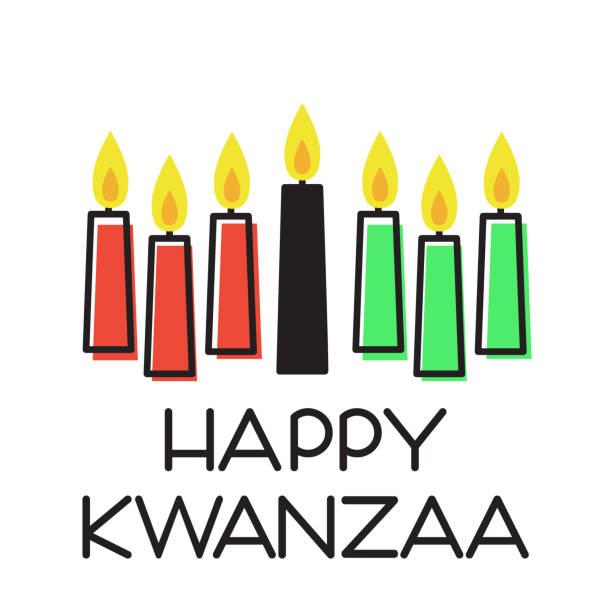 Happy Kwanzaa illustration Happy Kwanzaa. Vector illustration with traditional colored candles. kwanzaa stock illustrations