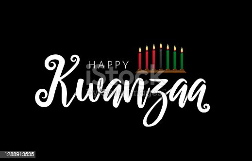 istock Happy Kwanzaa lettering on black background with kinara. Vector 1288913535