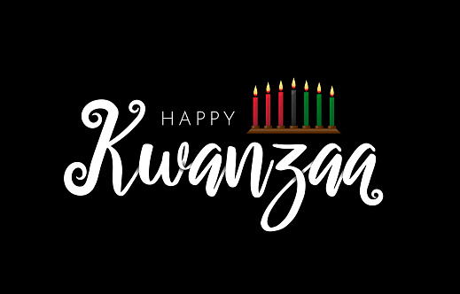 Happy Kwanzaa lettering on black background with kinara. Vector