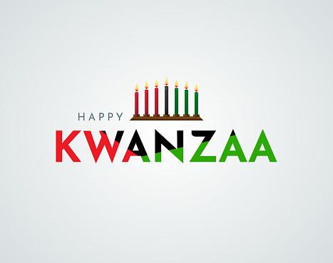 Happy Kwanzaa poster, card with kinara. Vector