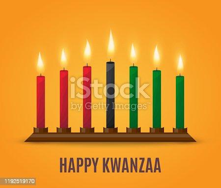 istock Happy Kwanzaa poster design. Vector 1192519170