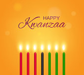 Happy Kwanzaa poster with candles. Vector illustration.