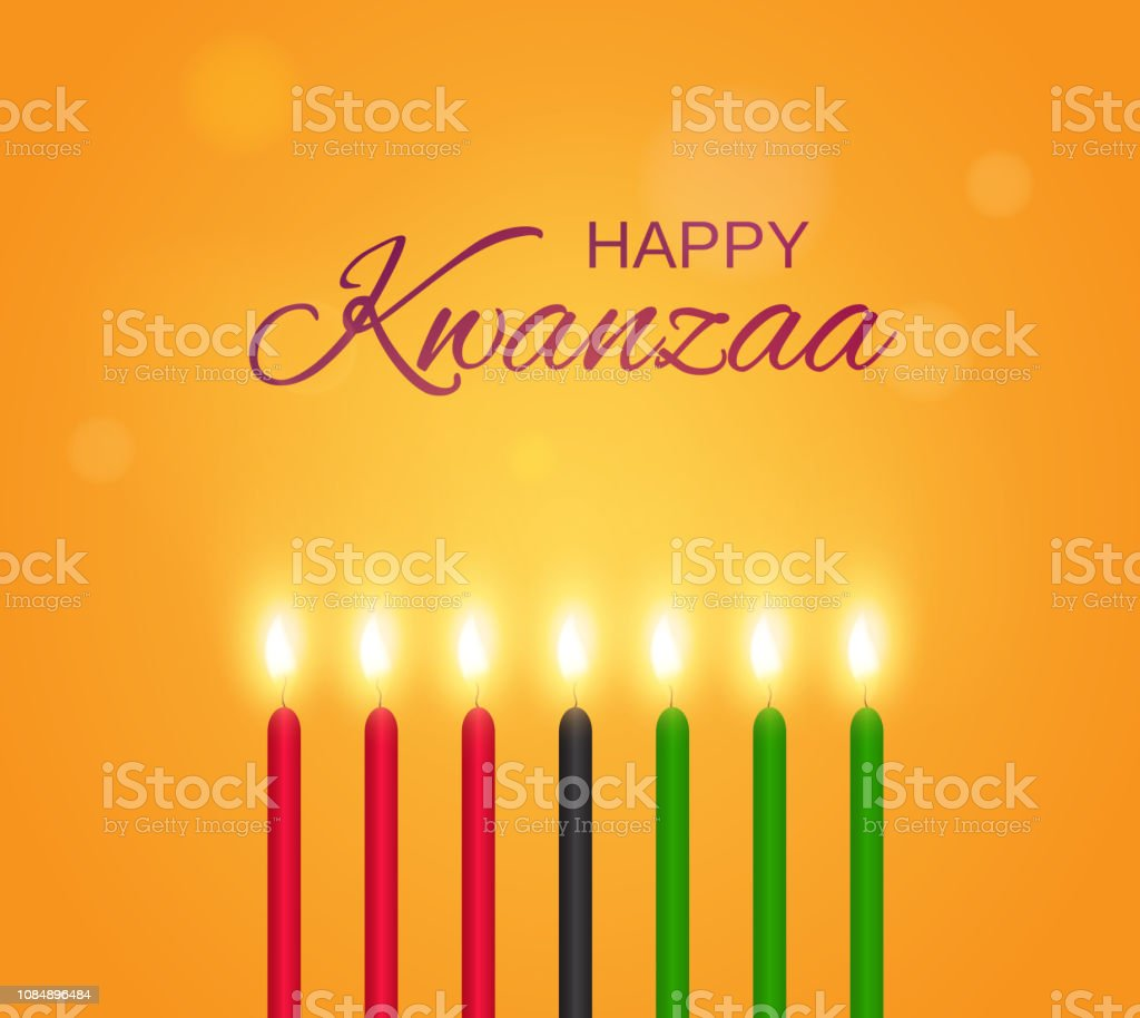Happy Kwanzaa poster with candles. Vector illustration. vector art illustration