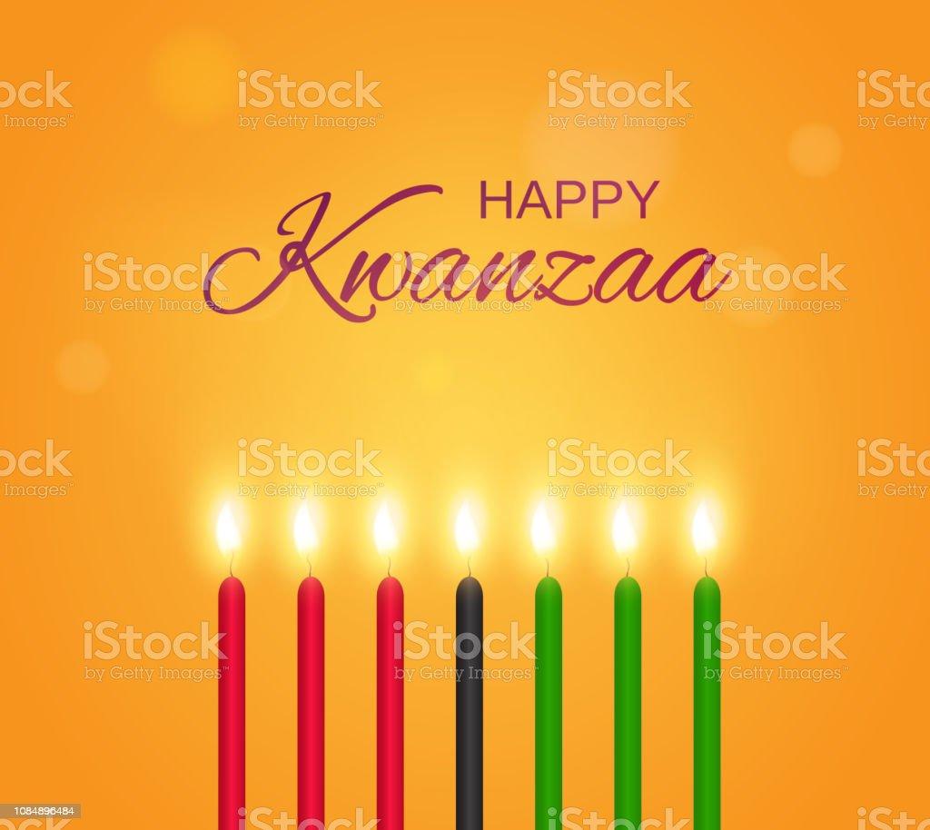 Cartaz de Kwanzaa feliz com velas. Ilustração em vetor. - ilustração de arte em vetor