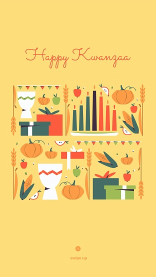 Happy Kwanzaa vertical vector social media story template with the symbols of African Heritage - kinara candles, crops, corn, unity cup and gifts. Annual celebration of African-American culture.
