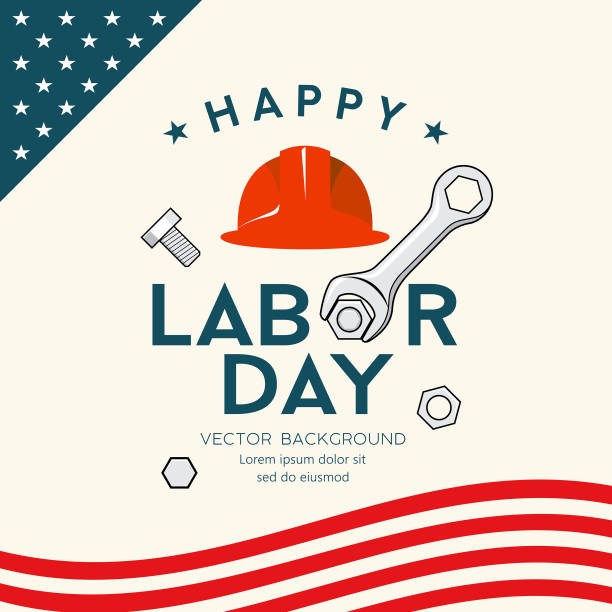 happy labor day america engineer cap and wrench vector - may day stock illustrations, clip art, cartoons, & icons