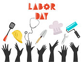 Happy labor day background design, vector illustration.