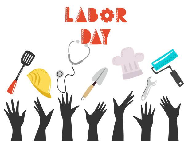ilustraciones, imágenes clip art, dibujos animados e iconos de stock de feliz día del trabajo diseño del fondo, ilustración vectorial. - día del trabajo