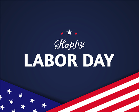 Happy Labor Day banner design with US flag elements and text on dark blue background. - Vector
