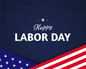 Happy Labor Day banner design with US flag elements and text on a dark blue background. - Vector illustration