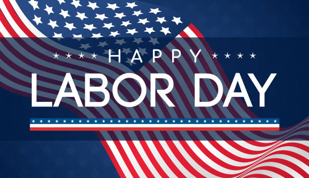 happy labor day banner vector illustration, beautiful usa flag waving on blue star pattern background. - labor day stock illustrations, clip art, cartoons, & icons