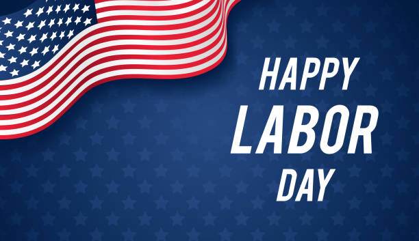 happy labor day banner vector illustration, usa flag waving on blue star pattern background with copy space. - labor day stock illustrations, clip art, cartoons, & icons