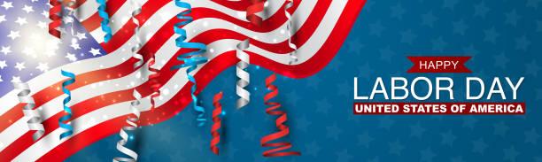 happy labor day banner mit usa-flagge und blauen, roten und weißen ringeln. united states national holiday advertisment header-design. vektor-illustration. - tag der arbeit stock-grafiken, -clipart, -cartoons und -symbole