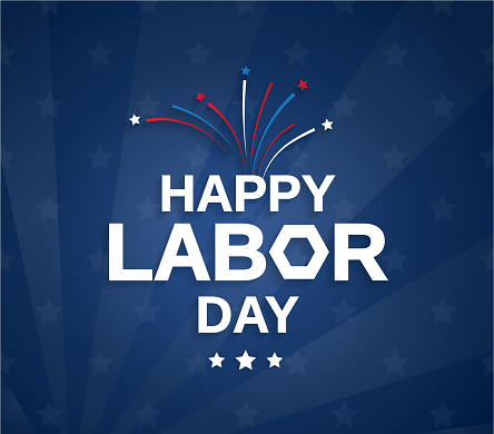 Happy Labor Day blue poster with firework. Vector illustration.