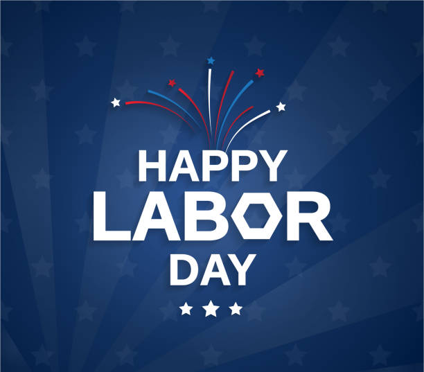 happy labor day blue poster with firework. vector illustration. - labor day stock illustrations, clip art, cartoons, & icons