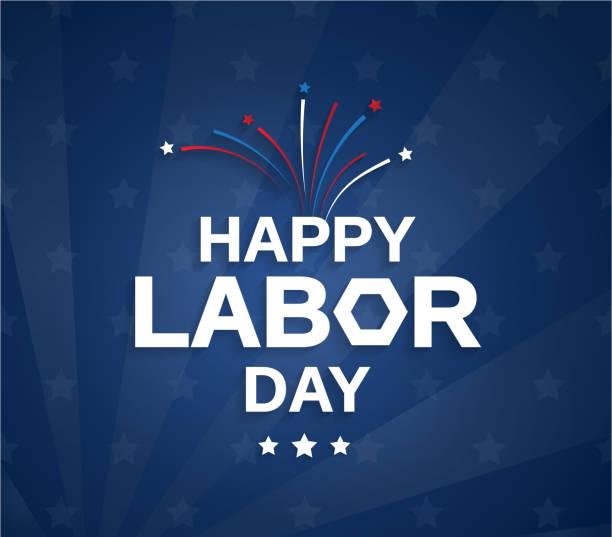 happy labor day blaues poster mit feuerwerk. vektor-illustration. - tag der arbeit stock-grafiken, -clipart, -cartoons und -symbole