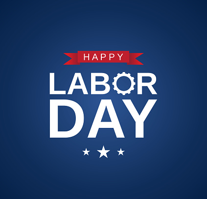 Happy Labor Day card, banner on blue background. Vector