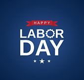 Happy Labor Day card, banner on blue background. Vector illustration.
