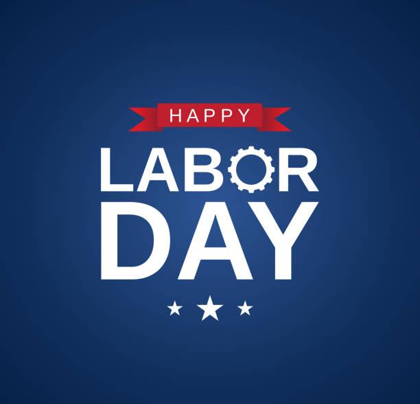 happy labor day karte, banner auf blauem hintergrund. vektor - tag der arbeit stock-grafiken, -clipart, -cartoons und -symbole