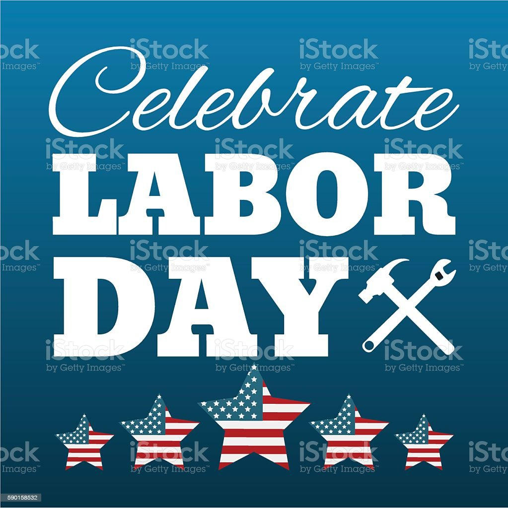 Happy labor day card United States of America. vector art illustration