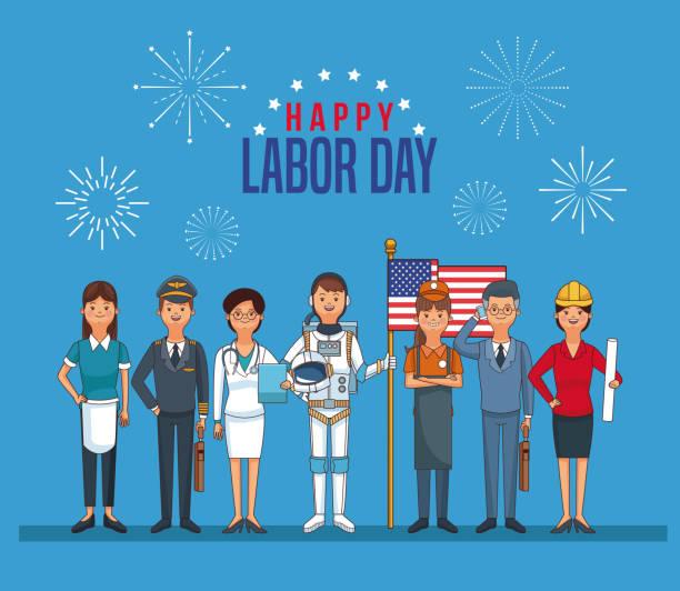 ilustraciones, imágenes clip art, dibujos animados e iconos de stock de feliz tarjeta del día del trabajo - día del trabajo