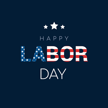 """Happy Labor Day Card Vector illustration. Flag of the United States inside world """" LABOR """" on blue background."""