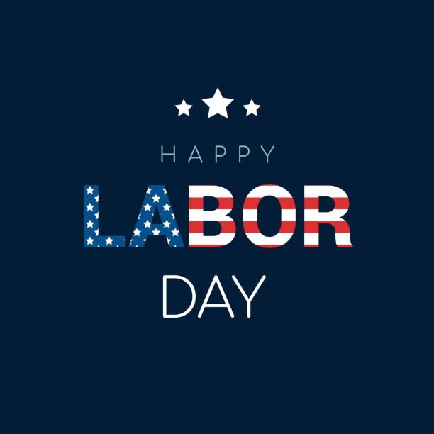 """glücklich labor day karte vektor-illustration. flagge der vereinigten staaten in der welt """"arbeit"""" auf blauem hintergrund. - tag der arbeit stock-grafiken, -clipart, -cartoons und -symbole"""