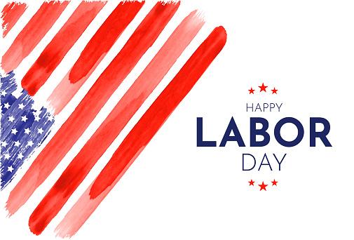 Happy Labor Day card. Watercolor USA flag. Vector