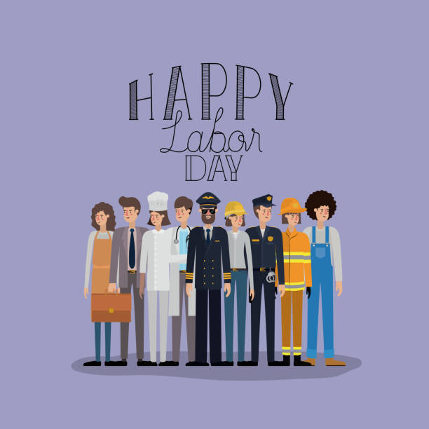 happy labor day card with workers happy labor day card with workers vector illustration design labor day stock illustrations