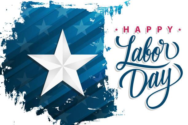 usa glücklich labor day feiern banner mit silberner stern auf pinsel strich hintergrund und hand schriftzug text happy labor day. nationalfeiertag der vereinigten staaten. - tag der arbeit stock-grafiken, -clipart, -cartoons und -symbole