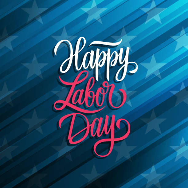 Happy Labor Day celebrate card with handwritten holiday greetings. United States national holiday. vector art illustration