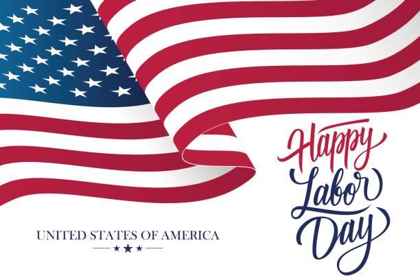 ilustraciones, imágenes clip art, dibujos animados e iconos de stock de tarjeta de celebración día del trabajo feliz con agitando bandera nacional de estados unidos y rotulación diseño del texto. - bandera de estados unidos