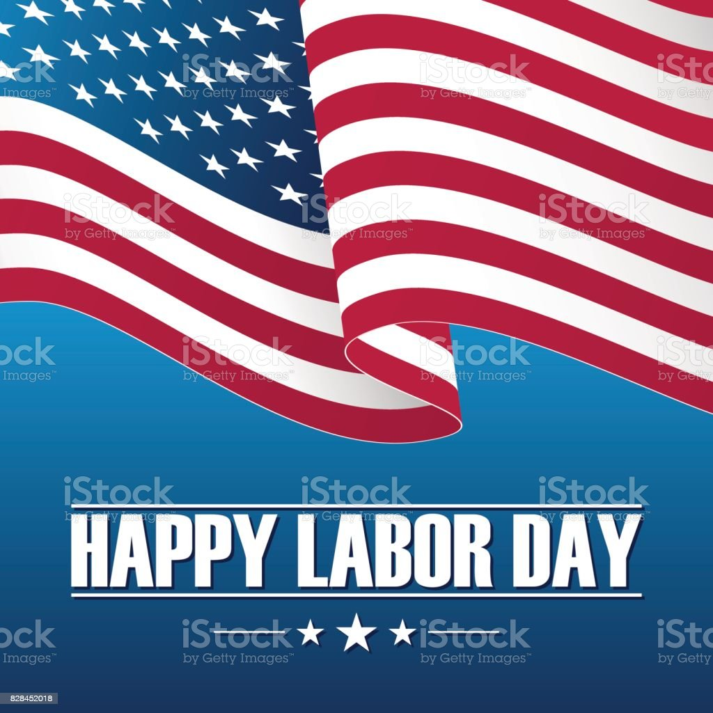 Happy Labor Day Celebration Card With Waving Usa National Flag Stock