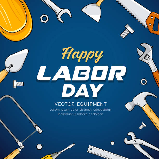 happy labor day construction equipment vector design - may day stock illustrations, clip art, cartoons, & icons