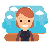 cartoon woman smiling icon over city landscape background colorful design vector illustration