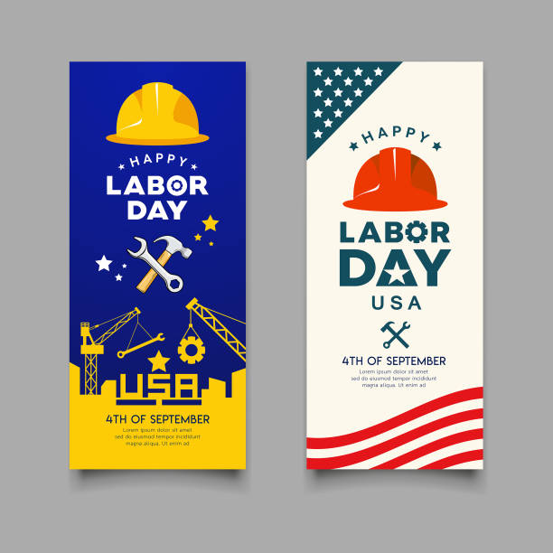 happy labor day engineer cap with wrench, hammer vector - may day stock illustrations, clip art, cartoons, & icons