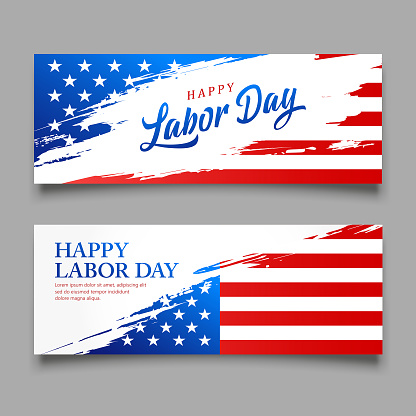 Happy Labor day flag of america vector, brush style banners