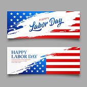 istock Happy Labor day flag of america vector, brush style banners 1154801018