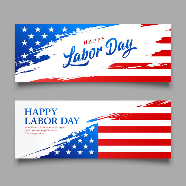 happy labor day flag of america vector, brush style banners - may day stock illustrations, clip art, cartoons, & icons
