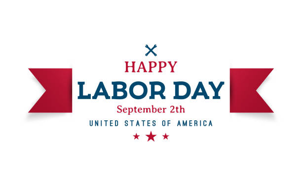 ilustraciones, imágenes clip art, dibujos animados e iconos de stock de feliz bandera de saludo del día del trabajo. diseño vectorial. - día del trabajo