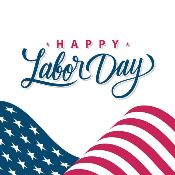 ilustraciones, imágenes clip art, dibujos animados e iconos de stock de feliz tarjeta de felicitación del día del trabajo con la bandera nacional americana ondeando y los saludos de letras a mano. fiesta nacional de los estados unidos. - día del trabajo