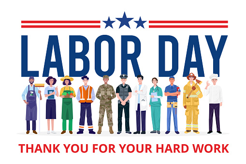 Happy Labor Day. Group of People with Different Jobs. Vector