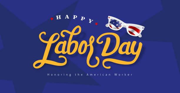 Happy labor day hand lettering  background banner template.Vector illustration . vector art illustration