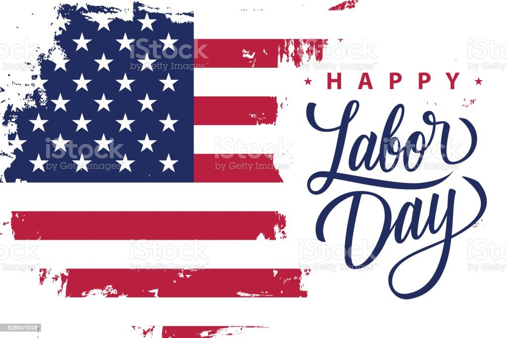 Happy Labor Day holiday banner with brush stroke background in United States national flag colors and hand lettering text design. vector art illustration