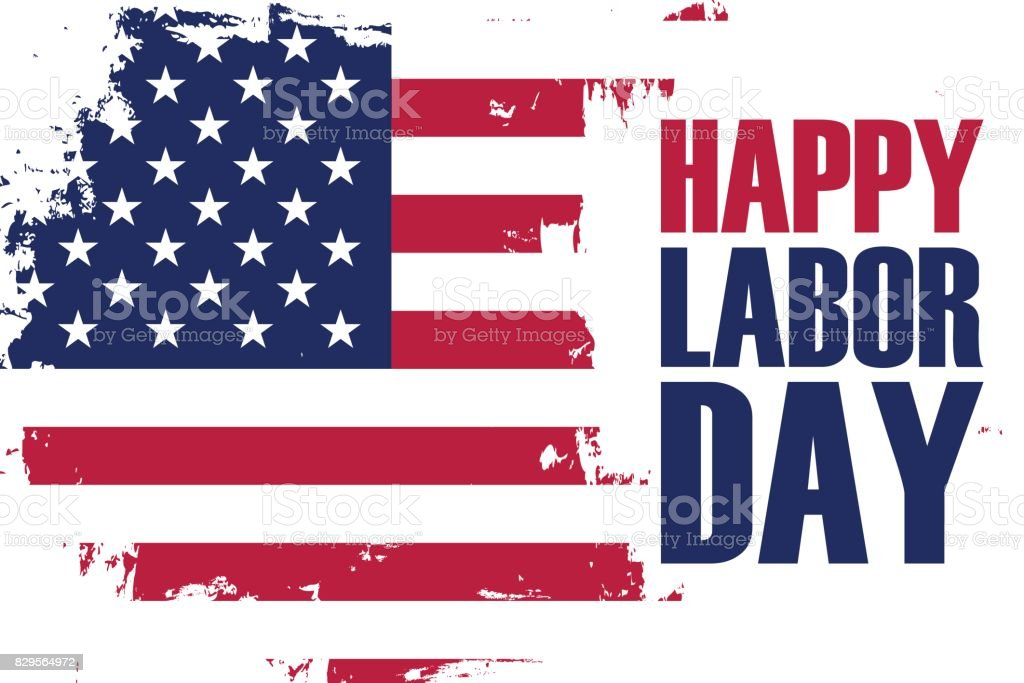 Happy Labor Day holiday banner with brush stroke background in United States national flag colors. vector art illustration