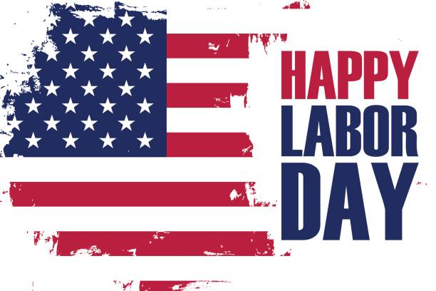happy labor day holiday banner with brush stroke background in united states national flag colors. - labor day stock illustrations, clip art, cartoons, & icons