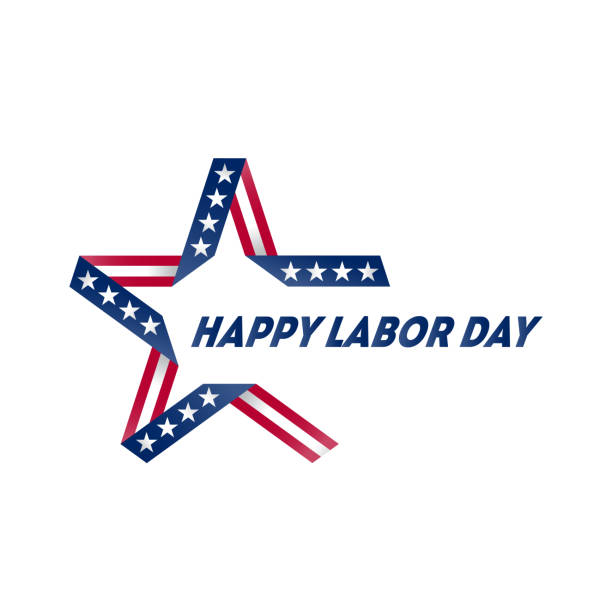 happy labor day holiday banner with united states national flag colors and symbols. vector illustration. - memorial day stock illustrations